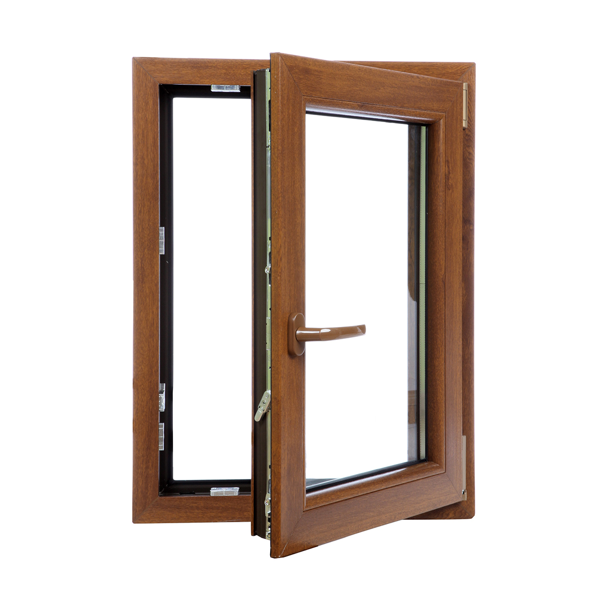 Upvc tilt turn frosted glass pvc double glazed window for Upvc window frame